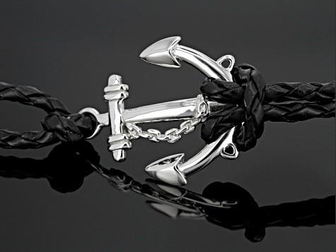 Black Sterling Silver Anchor Mens Bracelet.