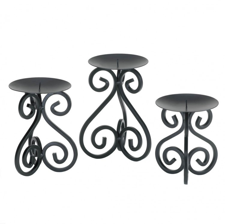 SCROLLWORK CANDLE STAND TRIO image