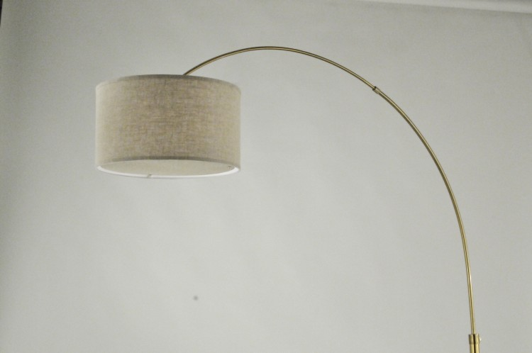 Clessidra Arc Lamp Burlap Shade Rose Gold