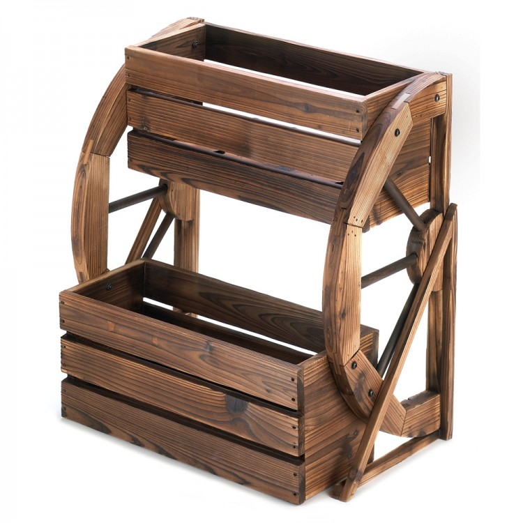 WAGON WHEEL DOUBLE-TIER PLANTER image